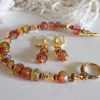Jewelry Set Bracelet and Earrings Pink Yellow Beaded Bracelet Earrings Czech Crystal Mother's Day Gift  Jewelry Set for Her