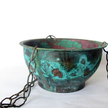 Vintage verdigris rustic engraved hanging copper planter. Plant holder.  Metal chains. Blue patina.