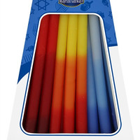 """Lamp Lighters Ultimate Judaica Chanukah Candles - European Collection - 45 Pack -Blue/Red/Orange - 6"""""""