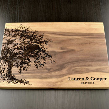Personalized Cutting Board, Custom Wedding Gift, Housewarming Gift, Anniversary Gift, Engraved Wood Chopping Block, Hostess Gift Carved Tree