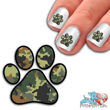 Digital Green Camo Paw Print - Nail Art Decals (Now! 50% more FREE)