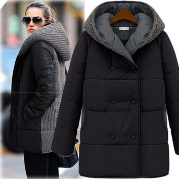Winter Knitted Patchwork Down Coat Women Plus Size Black Beige Warm Hooded Thicken Zipper Jacket Coats Manteau Femme S-3XL