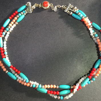 "27"" Necklace Turquoise, Red bamboo Coral, pink Coral, silver, Moonstone"
