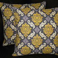"""Pillows DAMASK Pillow Shams TWO 16 inches Decorative Throw Pillow Covers - Joel Dewberry - Grey and Vintage Yellow 16"""""""