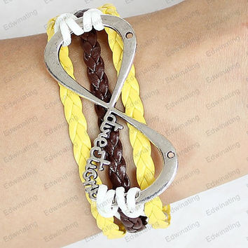 silver Infinity Bracelet,Leather Braid Bracelet Thin Leather Cord Leather Cord Adjustable Bangle Extension Chain Mom baby gift n0053