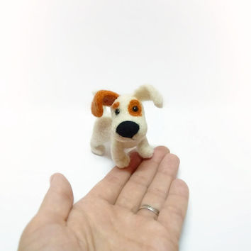Needle felted Dog MADE TO ORDER Needle felted animal Miniature sculpture HandmadeFelt doll Dog in the palm Dog as a gift Dog animal