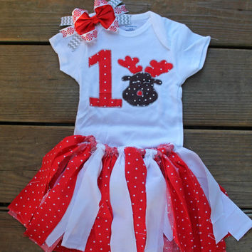 my first Christmas outfit girl, 1st Christmas outfit, 1st birthday Christmas outfit, Christmas party outfit, reindeer outfit girl, xmas