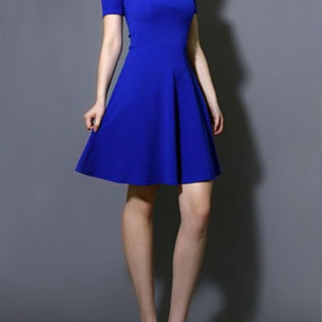 Play the Blues Cold Shoulder Dress