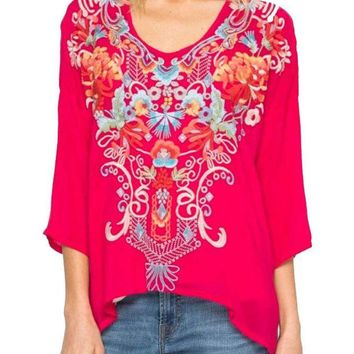 LMFYW3 Johnny Was Women's Valerie Blouse Pomegranate