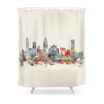 Society6 Montreal Quebec Skyline Shower Curtains