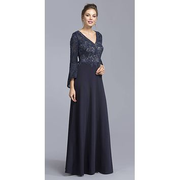 Navy Blue Appliqued Long Formal Dress with Long Bell Sleeves