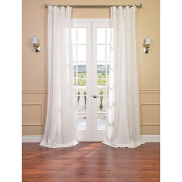 Half Price Drapes SHLNCH-GB1001032-108 Signature Antique Lace French Linen Sheer Single Panel Curtain Panel, 50 X 108