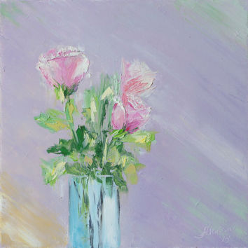 original oil painting roses flowers  floral textured green abstract purple home decor palette knife thick  signed FREE US SHIPPING