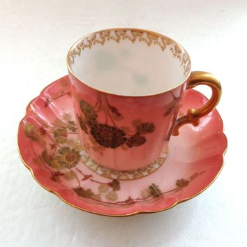 Stunning Antique Hand Painted Limoges Pink and Gold Cup and Saucer Eggshell Porcelain China