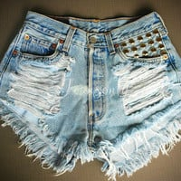 Levis High waisted denim shorts Studded distressed frayed Gothic Grunge Hipster clothing Custom Made To Order