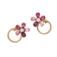 Flower earclips small rose gold 5-leave blooms | earrings RenéSim