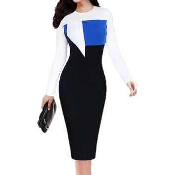 Womens Elegant Colorblock Contrast Patchwork Long Sleeve Tunic Wear to Work Office Business Stretch Bodycon Dress