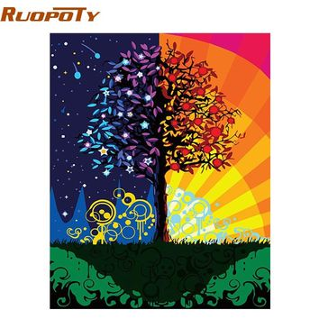 RUOPOTY Frame Colorful Tree Diy Painting By Numbers Kits Wall Art Acrylic Paint On Canvas HandPainted Home Decor Artwork 40x50cm