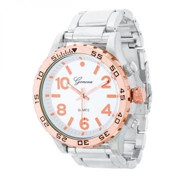 Men's Metal Fashion Watch - Silver/Rose