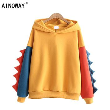 New fashion 2017 Women's sweatshirts hoodies Autumn Winter Sweet cute dinosaur Velvet cashmere hooded hoodies female one size