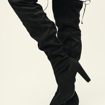 Call Me Faux Suede Thigh High Boots (Black)