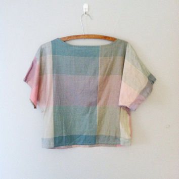 1980s pastel plaid top / dolman sleeve top / short sleeve plaid top / crop top