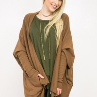 Dolman Long Sleeve Open Cardigan | Brown