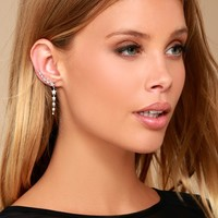 Shooting Star Silver Rhinestone Star Earrings
