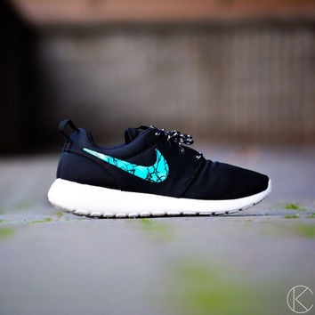 Womens size 7 hand painted roshe custom shoes turquoise stone nike rosherun
