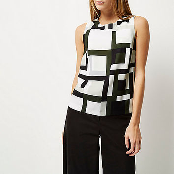 Khaki geometric print sleeveless top - cami / sleeveless tops - tops - women