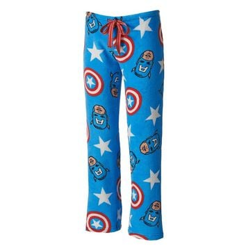 Captain America Pajamas: Plush Fleece Pajama Pants - Juniors