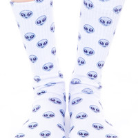 O Mighty Alien Emoji Socks White One