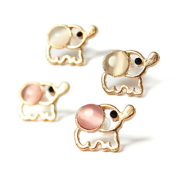 Enamel Pastels Color  Ears Elephants Earrings 18kts Gold Plated Studs