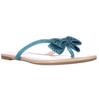 I. Malissa Bow Flip Flop Sandals - Bright Aqua