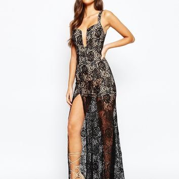 Love Triangle Deep Plunge Maxi Dress In All Over Lace With Thigh Split