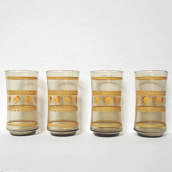Libbey Glass Floral Vintage Tumblers Set of 4, Retro Cups Yellow Flower and Leaf Pattern, Glasses