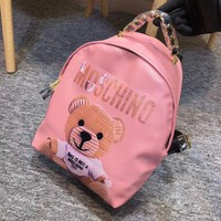 MOSCHINO' Women Casual School Bag Cowhide Leather Backpack