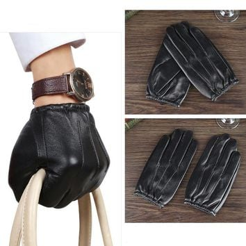 Men Classic Genuine Leather Driving Sheep Skin Gloves handschoenen Smart Phone Black M/L