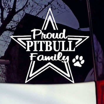 Proud Pitbull Pit Bull Family Car Vinyl Decal Sticker Adhesive Decals Removable