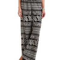Black/White Paisley Print Palazzo Pants by Charlotte Russe