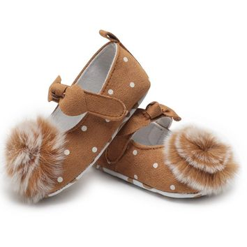 Cotton Leather Toddler Shoes Princess Cute Baby Girl Infant Baby Booties Soft Sole Newborn Moccasins Kids Footwear