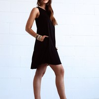 Swing Street Sleeveless Pocket Dress - Black