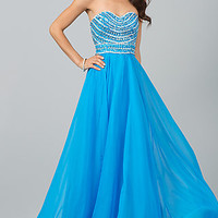 Strapless Long Beaded Gown by Sherri Hill