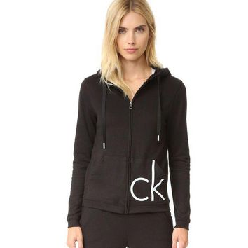 CREYUP0 Calvin Klein Casual Hooded Zipper Cardigan Jacket Coat Sweatshirt