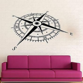 Wall Stickers Vinyl Decal  Compass Coolest Decor For Man Living Room Unique Gift z1578