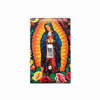 Lady of Guadalupe Switchplate / Virgin Mary Light Switch Plate / Latin America Decor / Kanvas Metallic Gold Multi