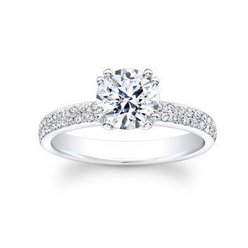 Ladies 18kt white gold pave diamond engagement ring with 0.35 carats G-VS2 diamond quality and 1.50ct Round White Sapphire Ctr