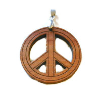 Wooden Peace Sign Charm