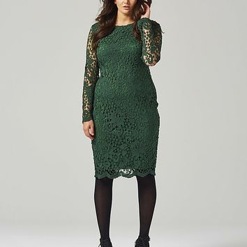 Green Lace Over Dress | SimplyBe US Site