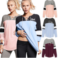 "Victoria's secret ""Pink"" Print women fashion hooded sweatshirt lace-up long sleeve top"